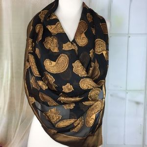 Accessories - Black and Gold Sheer Paisley Print Square Scarf
